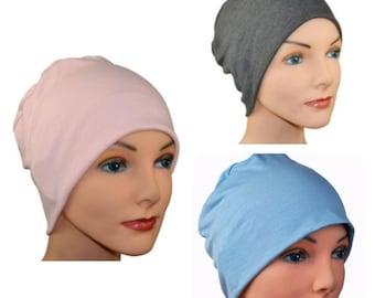 3 Organic Bamboo Cancer Hats - Chemo Cap, Cancer Beanie, Sleep, Casual, Pink, Gray, Medium Blue - Lot of 3, Soft, Small / Medium , Large