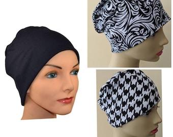 3 Cancer Hats-Chemo Cap, Cancer Beanie, Sleep-Designer Soft Fabric  Set of 3, Black, Black & White Houndstooth, Swirl, Small, Medium/Large