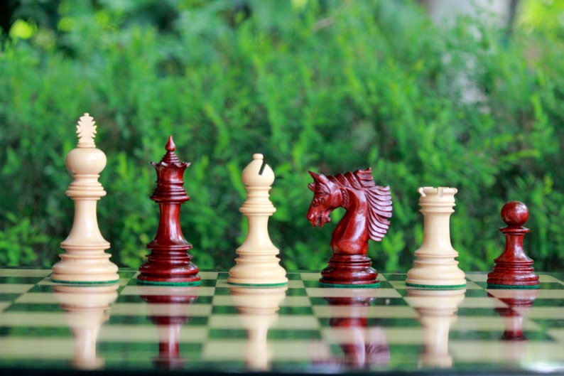 Hand made Alekhine Luxury Chess Pieces in African Padauk and Boxwood - 4 5