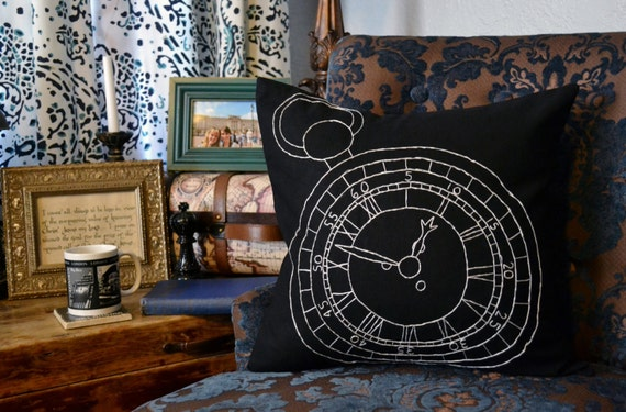 steampunk room decor.htm vintage pocket watch pillow cover hand embroidery wonderland etsy  vintage pocket watch pillow cover hand