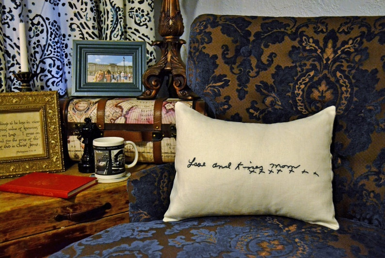 Custom Handwriting Pillow Cover Hand Embroidery Remembrance image 0