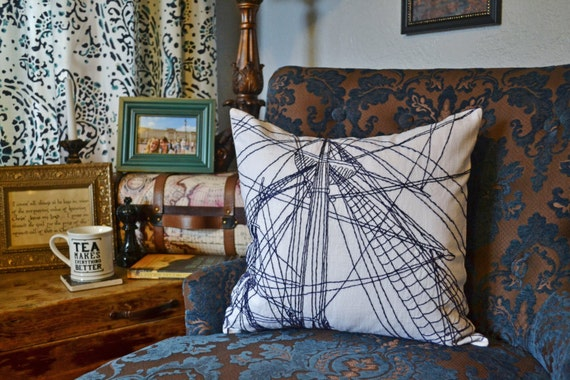 nautical bar decor.htm nautical pillow cover hand embroidery navy and white pillow etsy  nautical pillow cover hand embroidery
