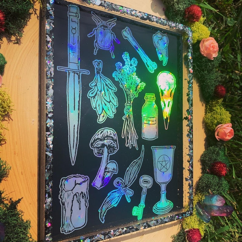 Holographic Witchy Things Rolling Tray