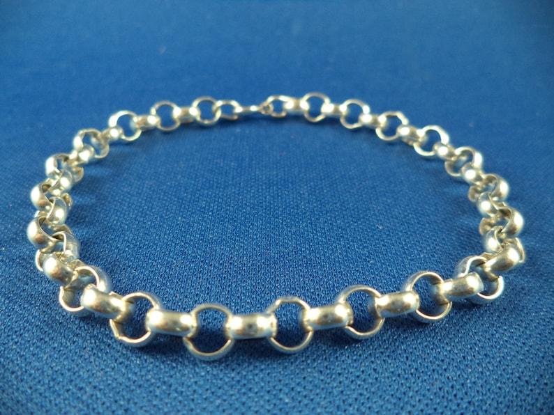 7 Inch 6 mm Sterling Silver Rolo Charm Bracelet