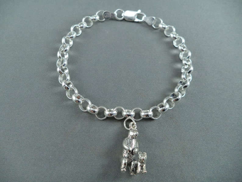 STERLING SILVER Bear with Cub Charm for Charm Bracelet