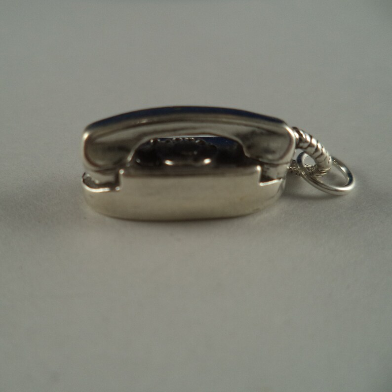 STERLING SILVER 3D Princess Phone Charm for Bracelet or Necklace