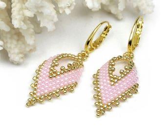 Summer pink earrings gift for her romantic  jewelry lightweight earrings for girls dangle earrings gifts for girlfriend beadwoven earrings