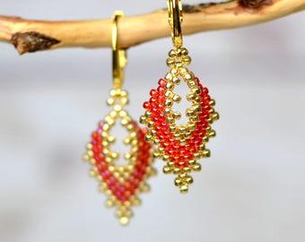 Gold red earrings party earrings bright earrings girlfriend gift for wife gift romantic earrings bohemian earrings handmade jewelry for her