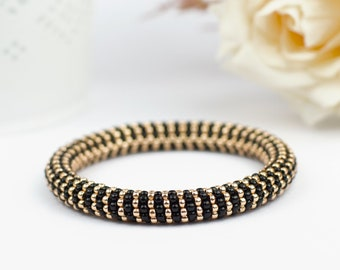 Stretch bead crochet bracelet, Black and gold yoga bracelet, Mothers day gift from daughter