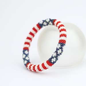 Patriotic jewelry Bead crochet rope 4th of july Independence Day American flag bracelet USA flag bracelet