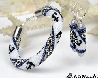 Travel jewelry, beaded bracelet and earrings, wanderlust jewelry for women, anchor earrings, Marine jewelry set, Marine Life