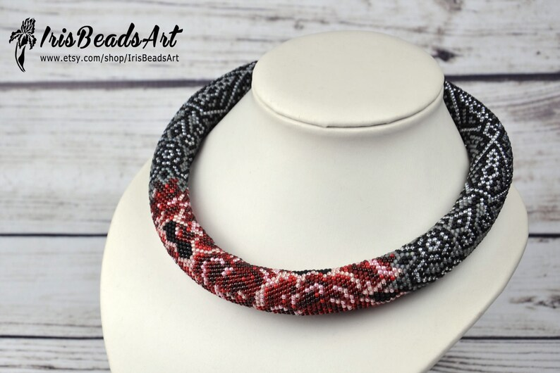 Rose necklace red flower necklace fashion necklace for her unique gift for wife best birthday gifts seed bead jewelry modern jewelry gift