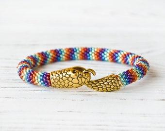 Rainbow snake bracelet for women, Ouroboros , Beaded bracelet, Bangle bracelet, Bead crochet bracelet, Seed bead bracelet handmade
