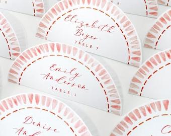 INSTANT   Escort Cards   Watercolor Edge   Circle   Minimalist   Calligraphy   Colorful   Editable   Instant Download   Script