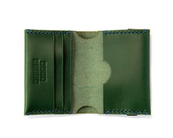 Handmade Vegetable Tanned Leather Wallet - Green Colour (LV01a)
