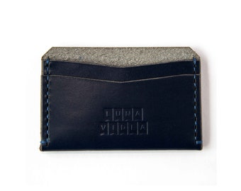 Handmade Vegetable Tanned Card Holder - Blue Colour (LV03c)