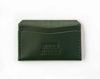 Handmade Vegetable Tanned Card Holder - Green Colour (LV03a)