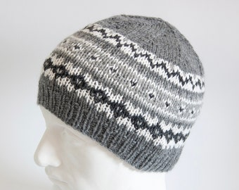 e2bddd45c3a Hand Knit WOOL Gray Cabled Beanie Crochet Wool by t