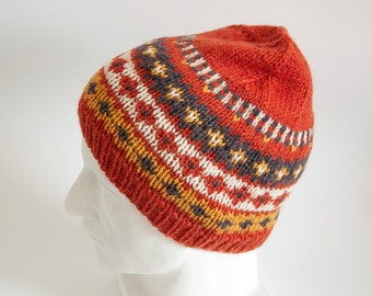 9d655c86f6c Orange Fair Isle Nordic Knit Hat in Chunky Yarn