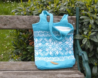 Fair Isle Knitted Tote Bag, Nordic Snowflake Designer Bag, Turquoise Wool Shoulder Bag with Interior Pockets, Unique Handmade Gift