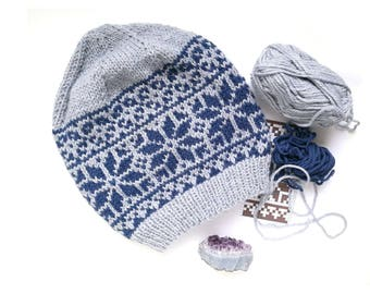 Snowflakes Hat PDF Knitting Pattern 8db69cf7288d