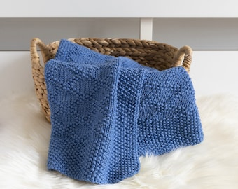 CHARLES Knit Baby Blanket, Navy Blue Newborn Afghan, Superwash Merino Wool Baby Throw Blanket, Custom Expecting Mom Gift