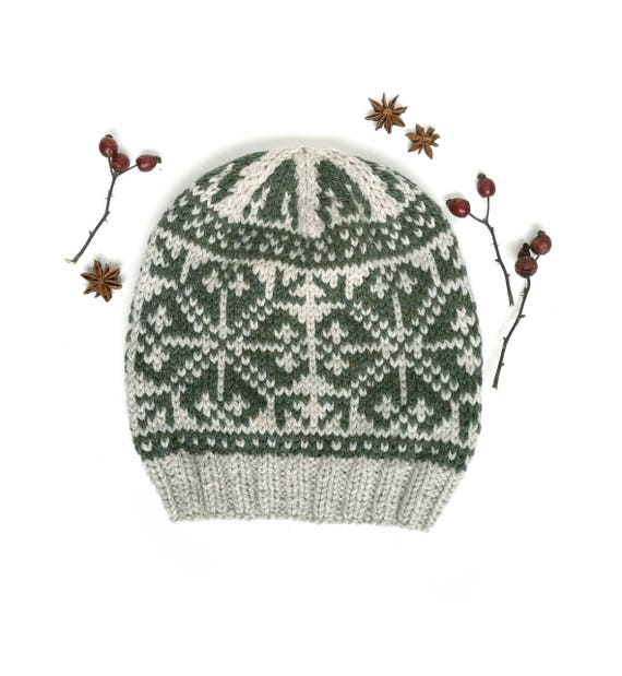 Snowflakes Hat Knitting Pattern Fair Isle Knit Hat Pattern  f5ba6c8a41c