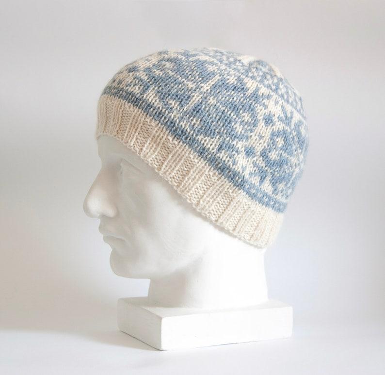46be3948eb5 Fair Isle Hand Knit Hat Snowflakes Alpaca Wool Hat Winter
