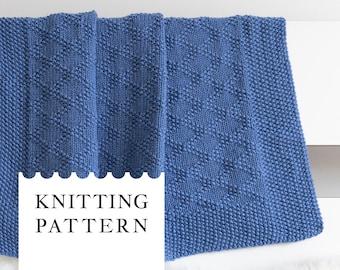 CHARLES Knit Baby Blanket Pattern, Baby Afghan PDF Knitting Pattern, Unisex Baby Blanket, Knit Wrap Pattern