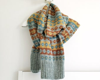 SOOMAA Large Fair Isle Knit Scarf, Itch-Free Alpaca Wool Oversized Winter Scarf, Hand Knitted Designer Scarf for Men and Women