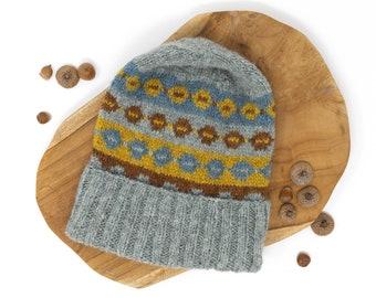 SOOMAA Fair Isle Hat, Lightweight Itch-Free Alpaca Wool Beanie, Wide Brim Cozy Unisex Knit Hat