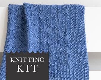 CHARLES Baby Blanket Knitting Kit, DIY Crafts Kit with Knitting Pattern and Organic Merino Wool, Afghan Throw Blanket, Beginner Knitting