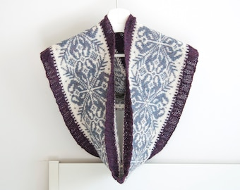 Fair Isle Snowflake Cowl Scarf, Alpaca Wool Designer Infinity Scarf, Hand Knitted Snood for Men and Women