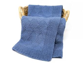 HARLEQUIN Knit Baby Blanket, Superwash Merino Wool Blanket, Navy Blue Unisex Throw Blanket, Soft Warm Baby Wrap, Hand Knitted Afghan