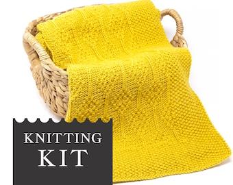 DIAMOND Baby Blanket Knitting Kit, DIY Organic Merino Wool Baby Blanket Knit Kit, Easy Baby Afghan Pattern, Beginner Knitting Kit