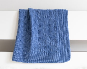 CHARLES Knit Baby Blanket, Navy Blue Newborn Afghan, Superwash Merino Wool Baby Throw Blanket, Expecting Mom Gift
