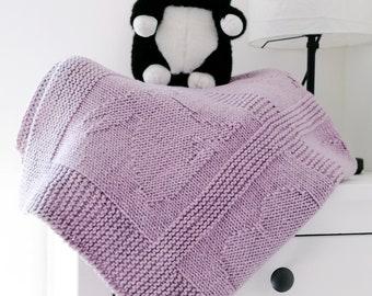 HEARTS & BUNNIES Knit Baby Blanket, Wool Throw Blanket, Superwash Merino Afghan, Custom Hand Knitted Expecting Mom Gift