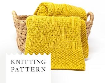 DIAMOND Knit Baby Blanket Pattern, Baby Afghan PDF Knitting Pattern, Unisex Baby Blanket, Reversible Knit Wrap, DK Yarn Knit Design