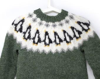 Penguin Lopapeysa, Icelandic Wool Sweater, Penguin Sweater, Unique Knit Adult Pullover, Custom Handmade Sweater