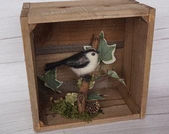 Needle Felt Long-Tailed Tit Bird Sculpture in Rustic Box Faux Taxidermy Scene