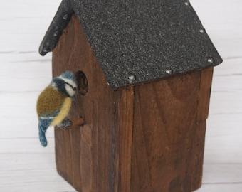 Needle Felt Blue Tit Bird Sculpture on Handmade Bird Box