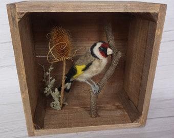 Needle Felt Goldfinch Bird Sculpture in Rustic Box Faux Taxidermy Scene