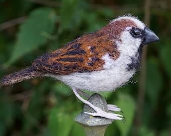 Needle Felt House Sparrow Bird Sculpture