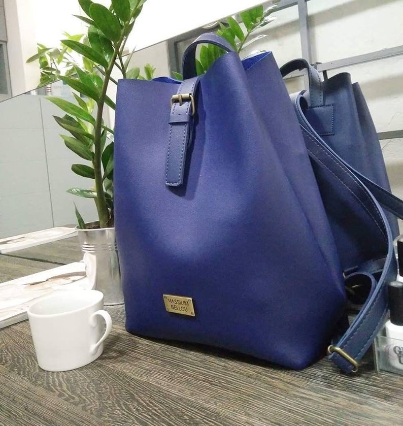 e52dc65454a Summer 2019 Navy Blue Bag Minimalist Bag Handmade Vegan Leather Backpack  Everyday Bag Gift For Her Bachelorette Party Teacher's Gift