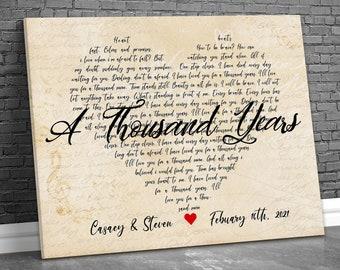 Song Lyrics Wall Art, Song Lyrics Canvas, Custom Song Lyrics On Canvas, Wedding Song Lyrics Wall Art, Anniversary Gift, Personalized Canvas