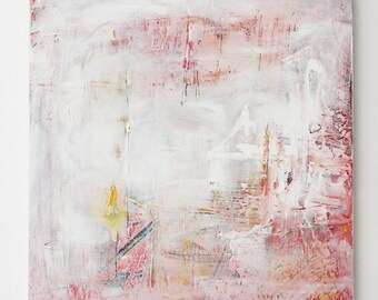 Pink and white dream, 2014 // Original Artwork, Acrylic on canvas, pink, dreamworld, fantasy world