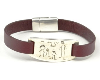 children artwork bracelet, kids handwriting jewelry, children drawing, signature bracelet, actual handwriting bracelet, memorial jewelry