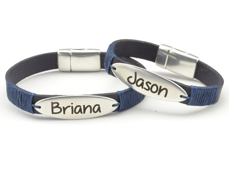 fced0cb9d Engraved couples bracelet name bracelet personalized couples   Etsy