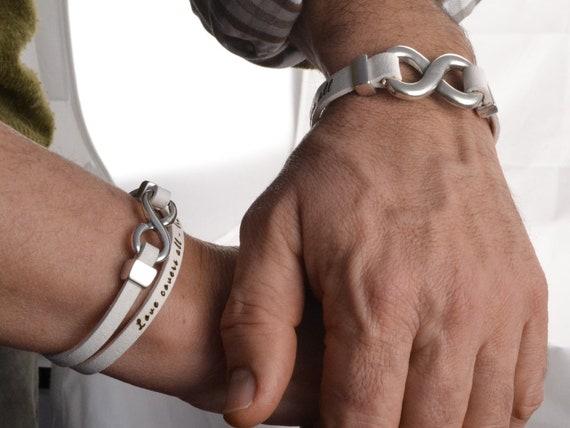 bracelets couples infini, couples bijoux, bracelets en cuir infini,  bracelet petit ami petite amie, cadeaux mari épouse