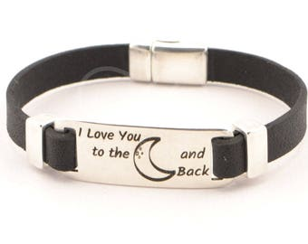 mens jewelry, I Love You To The Moon And Back,boyfriend gift, men engraved leather bracelet, inspirational quote bracelet, custom jewelry
